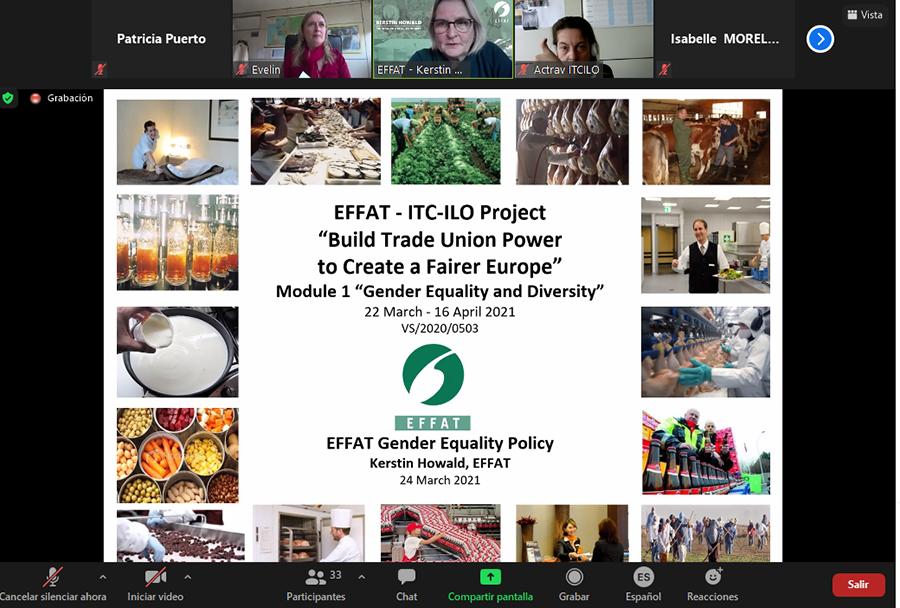 """UGT participa en la formación """"Igualdad de género y diversidad"""" realizada desde el Centro Internacional de Formación, y organizado desde la internacional sindical EFFAT"""